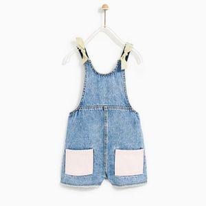Zara girls denim pastel color overalls shorts